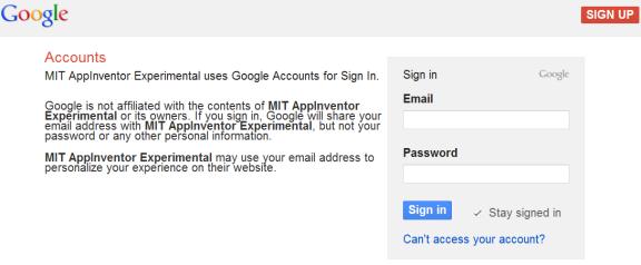 เว็บไซต์ MIT App Inventor สำหรับ Sign in